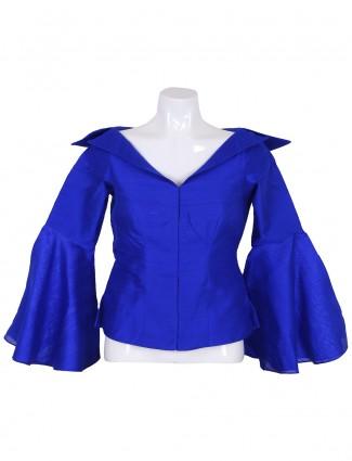 Raw silk designer plain blue ready made blouse