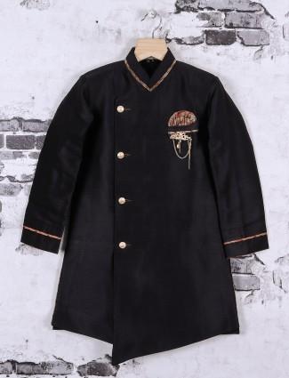 Raw silk fabric black color indo western