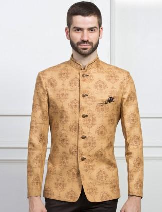 Raw silk fabric kahki blazer