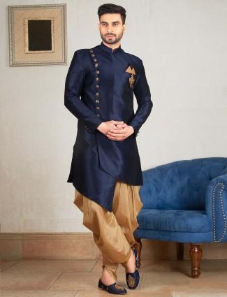 Raw silk fabric navy hue indo western kurta suit