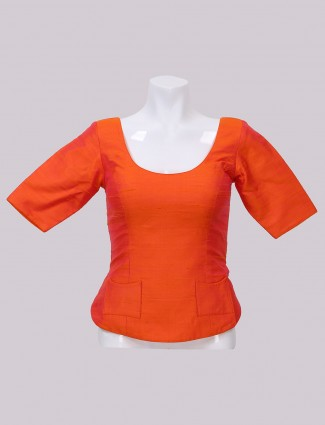 Raw silk fabric orange ready made blouse