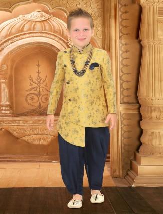 Raw silk fabric party wear yellow hue indo western