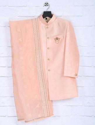 Raw silk fabric peach hue indo western