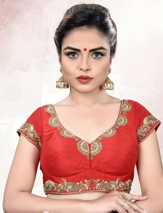 Raw silk fabric red ready made blouse