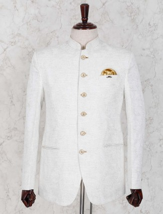 Raw silk fabric white color solid jodhpuri blazer