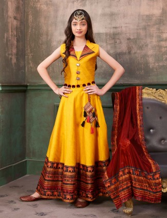Raw silk fabric yellow hue anarkali suit