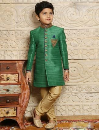 Raw silk green boys indo western sherwani