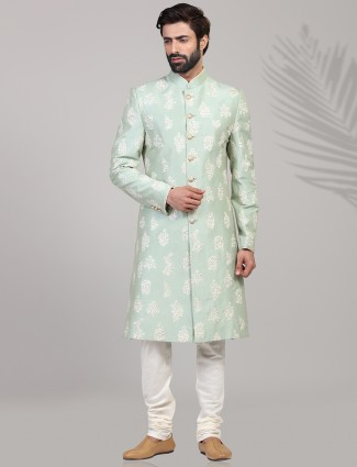 Raw silk green designer wear sherwani