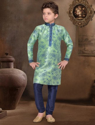Raw silk green festive wear kurta suit