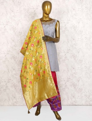 Raw silk grey hue punjabi salwar suit