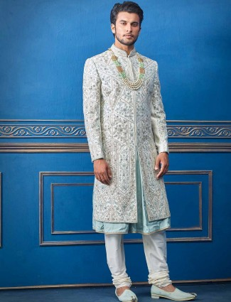 Raw silk grey sherwani for wedding days