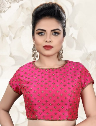 Raw silk magenta ready made blouse