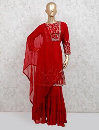 Raw silk maroon beautiful punjabi sharara suit