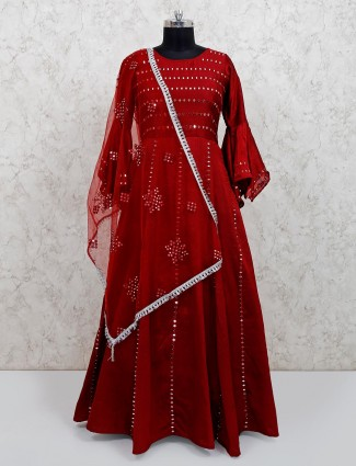 Raw silk maroon floor length anarkali suit