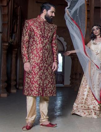 Raw silk maroon sherwani