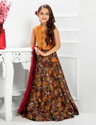 Raw silk mustard and brown printed lehenga choli