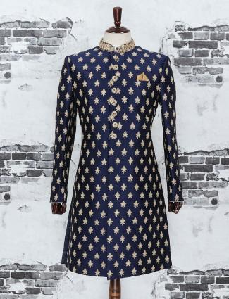 Raw silk navy color indo western
