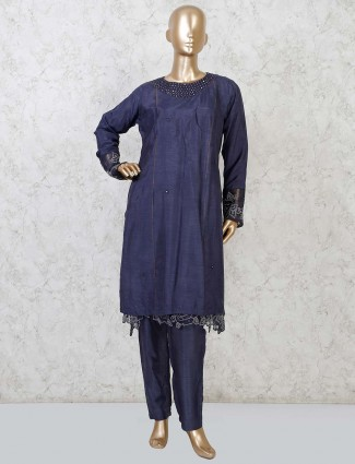 Raw silk navy festive punjabi pant suit