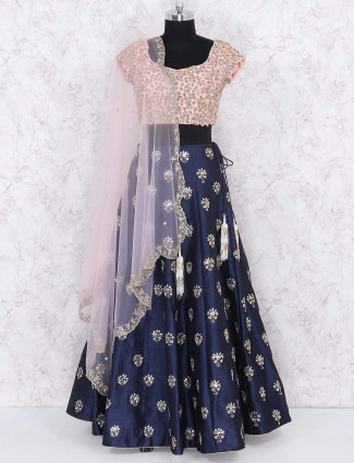 Raw silk navy hue party wear lehenga choli