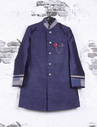 Raw silk navy indo western