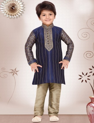 Raw silk navy kurta suit