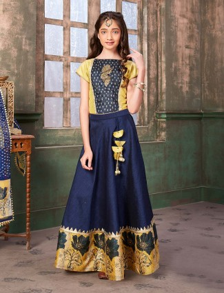 Raw silk navy printed party anarkali suit