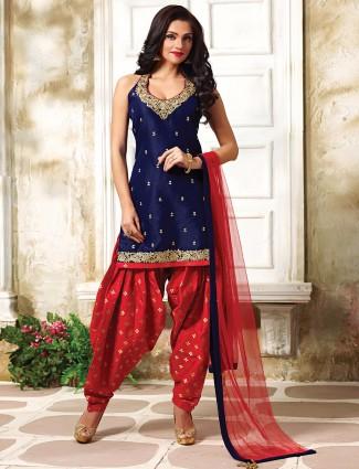 Raw silk navy red punjabi suit