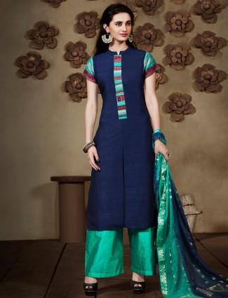Raw silk navy salwar suit