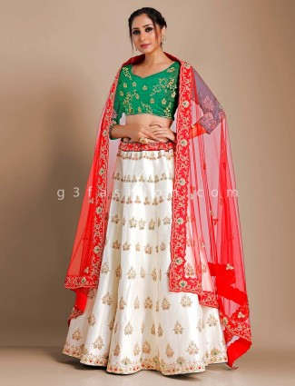 Raw silk off white semi stitched lehenga choli