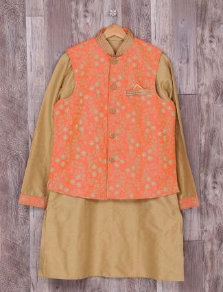 Raw silk orange beige waistcoat set