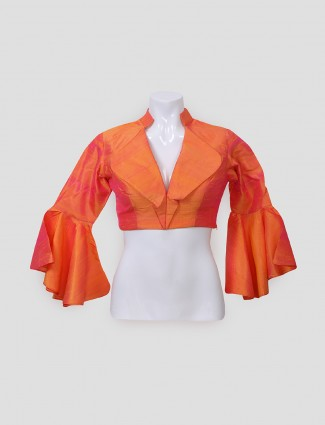 Raw silk orange hue ready made blouse