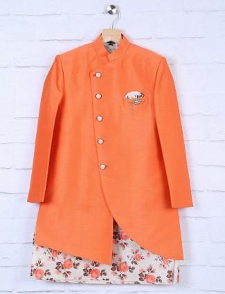 Raw silk orange hued designer indo western