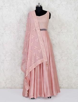 Raw silk pink anarkali salwar suit