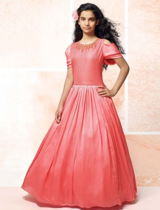 Raw silk pink floor length gown for girls