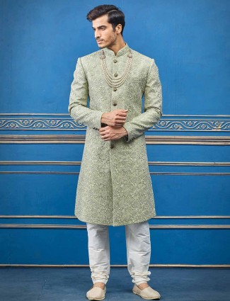 Raw silk pista green sherwani for groom