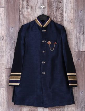 Raw silk plain navy weddingwear indo western
