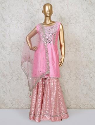 Raw silk punjabi sharara suit in pink