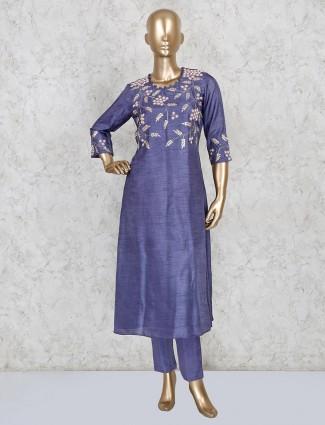 Raw silk punjabi suit in blue color