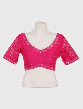 Raw silk ready made magenta blouse