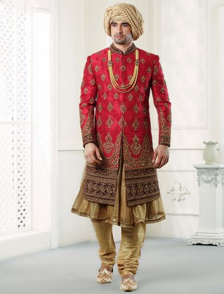 Raw silk red and beige hued groom wear sherwani