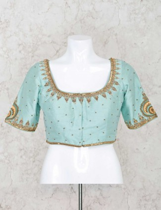 Raw silk sea green ready made blouse