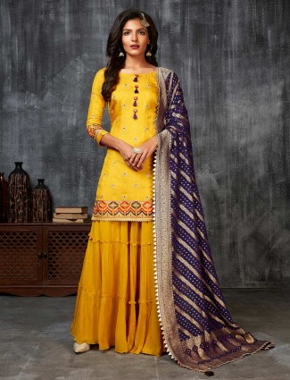 Raw silk sharara suit in yellow for weddings