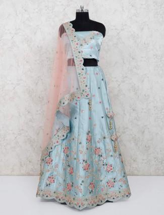 Raw silk sky blue party wear semi stitched lehenga choli