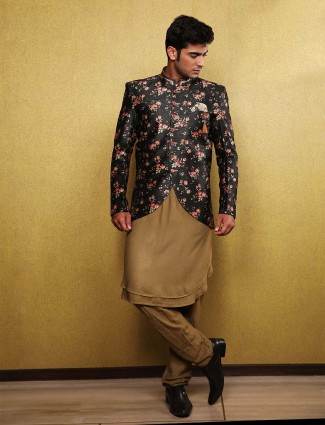 Raw silk solid black hue party wear waistcoat set