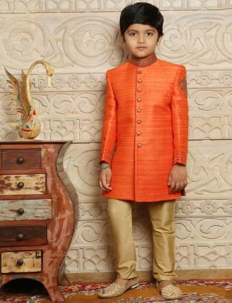 Raw silk wedding wear orange boys indo western sherwani