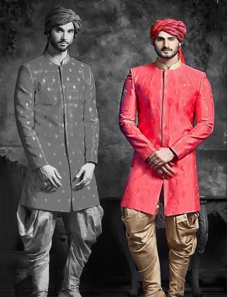 Raw silk wedding wear red indo western