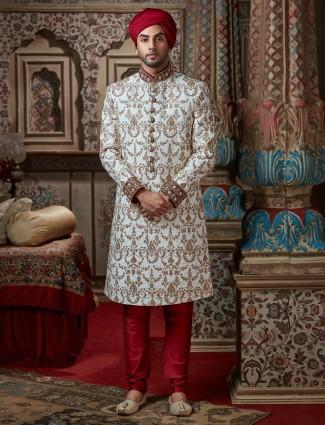 Raw silk white sherwani with churidar