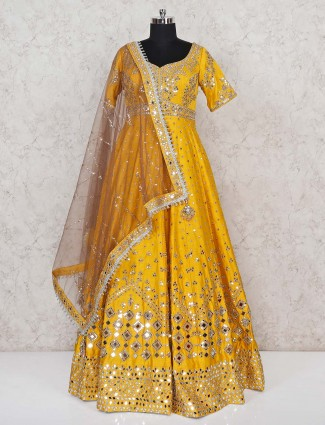 Raw silk yellow designer floor length gown