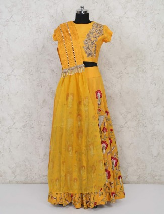 Raw silk yellow wedding function lehenga choli