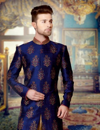 Rayol blue raw silk wedding wear sherwani